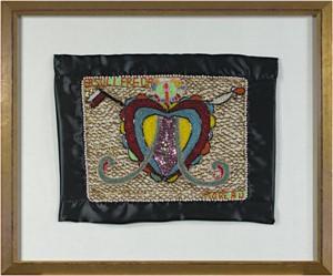 Erzulie Freda Beaded Flag (Heart Symbol for Love Goddess Erzulie), 2001