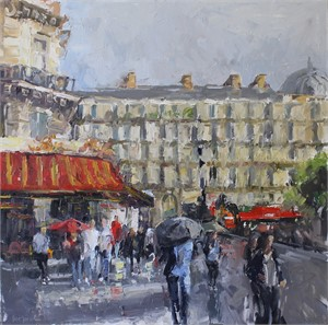 Rue Saint Lazare in the Rain