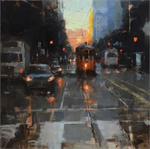 Morning Trolley on Market Street