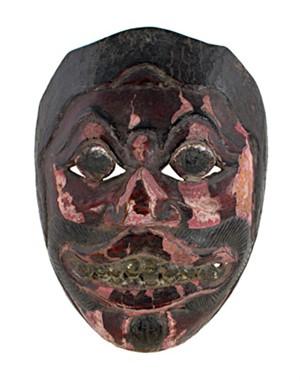 Mask, tiara, round eyes, wine red mustache, 19th Century