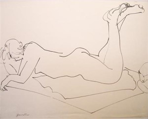 Nude Laying with Feet Raised, c. 1960