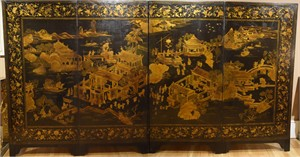 CHINESE FOUR-PANEL LACQUER SCREEN, Late 18th century