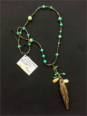 Agate Fossil Pendant with Turquoise Stations