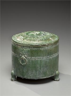 Green Glazed Tripod vessel Pottery