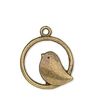 Necklace- Antique Gold Finish Bird in Circle