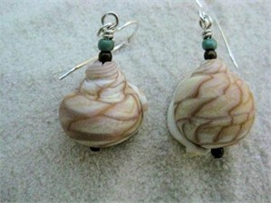 Lampworked Glass Tiger Shell Earrings