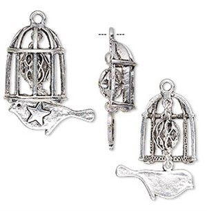 Necklace - Dangle Bird in Cage Antique Silver