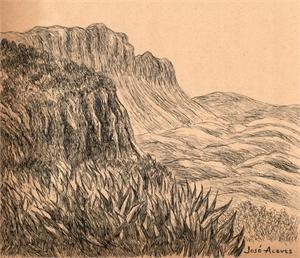Untitled (Mountain & Grass Landscape), c. 1950s