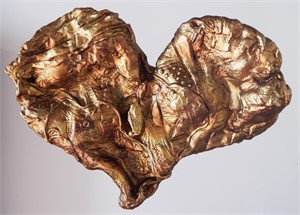 "Textured Gold Heart 18"" original price $1,900 PROMO $950"