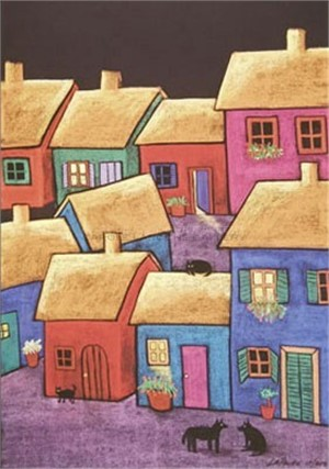 "LITTLE VILLAGE - limited edition giclee on canvas or on paper w/frame size of: (large) 54""x40"" $3700 or (medium) 38""x29"" $2200"
