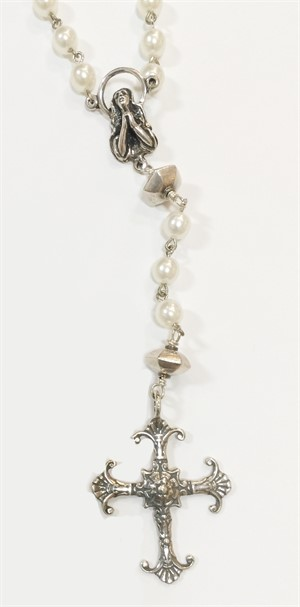 Necklace - Rosary of Pearl & Silver 8447, 2019