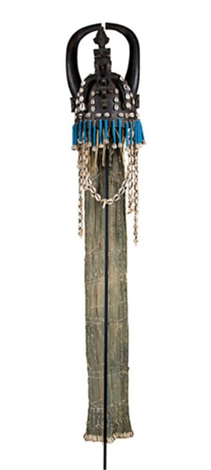 Senufo mask, headdress mounted on , Ivory Coast steel rod & base., c1960