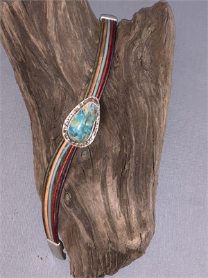 Bracelet - Sonoran Turquoise, Sterling Silver, Multi-colored Leather With Magnetic Clasp  AS 060, 2019