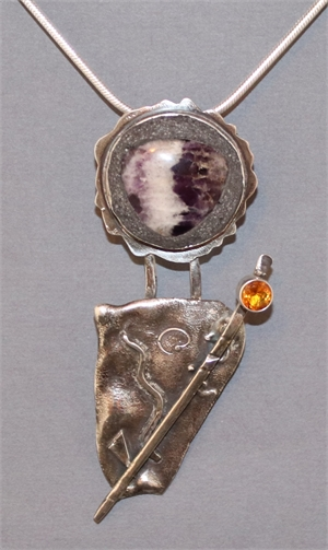 """Pendant - Shaman - Sterling Silver Reticulated, Amethyst, Topaz CZ On A 22"""" Sterling Silver Chain  AS 027, 2019"""