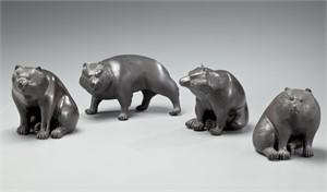 FOUR BRONZE OKIMONO OF HIMALAYAN BROWN BEARS , Meiji (1868-1912)/Taisho (1912-1926) Period