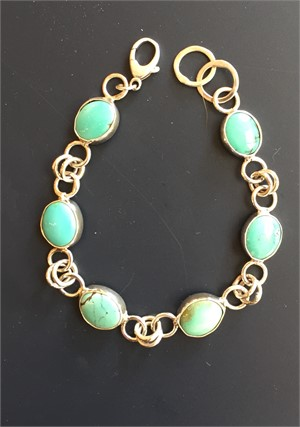Sterling Tibetan Turquoise Link Bracelet