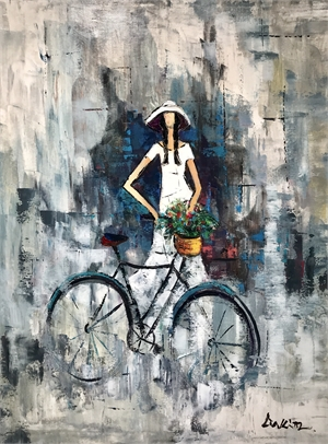 LADY WITH FLOWERS ON BICYCLE30