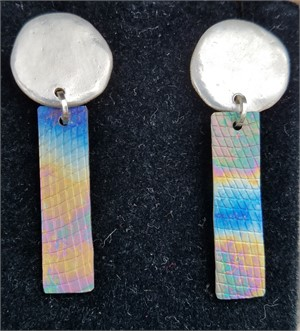 Earring - Titanium with Fine Silver #2602, 2019