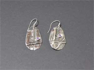 Earrings - Fold formed sterling silver set with amethyst cz AS 020, 2018