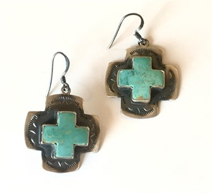 Earrings - Turquoise Square Cross on Fishhook Ear Wires