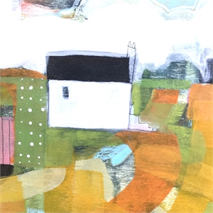 White Farmhouse with Orange Fields, 2020