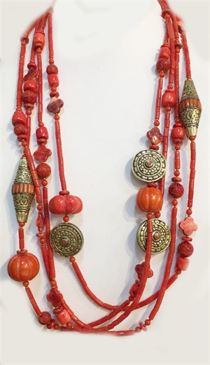 KY 1304C - 4 Strand Red Coral And Tibetan Brass, 2019