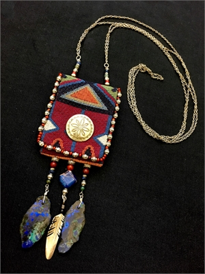 Lapis with Sterling Feather Bag-ette