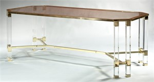 LUCITE DINING TABLE WITH GLASS TOP, Circa 1970s