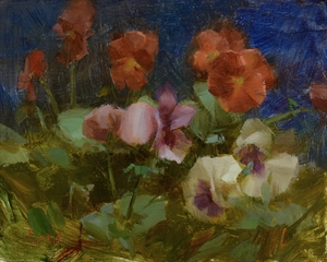 Pansies with Blue Background