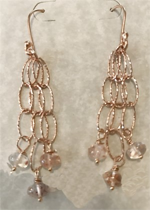 Earring - Strawberry Rutilated Quartz & Rose Gold  #7776, 2019