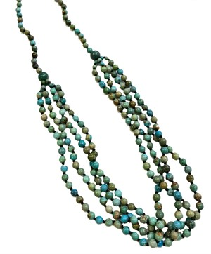 "Necklace - 32"" 4 Strand Turquoise Beads"