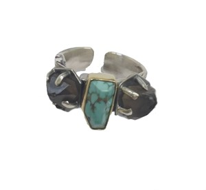 Ring - Sterling Silver, Nevada Turquoise and Smoky Quartz Adjustable