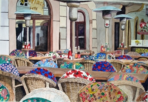 Outdoor Caf� in Prague by Dorethy Hancock