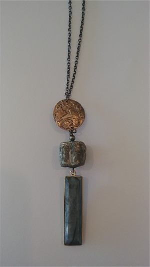 Bronze, Pyrite, Labradorite Long Necklace, 2019