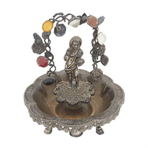SOUTH AMERICAN ALMS SILVER DISH WITH FIGURE OF SAN JUAN BATTISTA