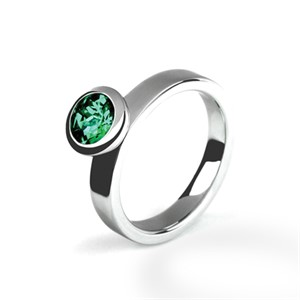 Ring - Stackable Bezel Set Sterling Silver and Green Quartz/ size 7
