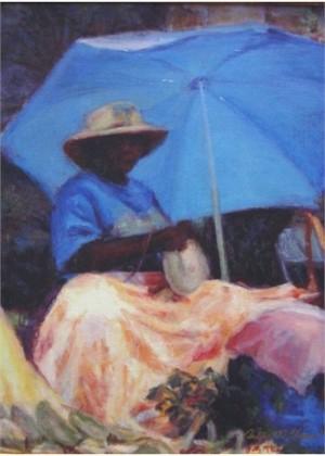 Basket Lady with Blue Umbrella