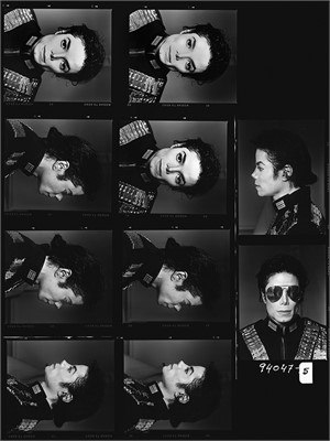 94047 Michael Jackson Contact Sheet 5 Faces BW (1/2), 1994