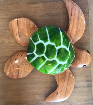 "6"" Turtle w/fused glass, 2019"