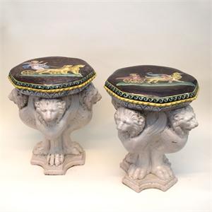 PAIR OF GLAZED EARTHENWARE GARDEN SEATS, Italian, 19th century