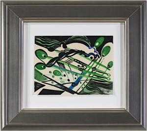 Art Deco (Green, Black & Blue), c.1950