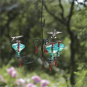 Hummingbird Feeder - 12oz Chandelier 3 Arm with Assorted Glass and Red Dangles, 2018