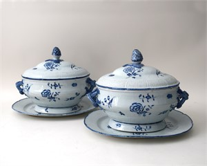PAIR OF BLUE AND WHITE SAMSON SOUP TUREENS, French, 19th century