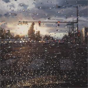 Rain on Windshield: Morning Commute