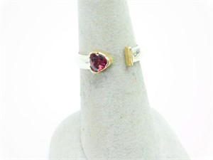 Ring - Pink Tourmaline in Sterling Silver with 14kt Gold