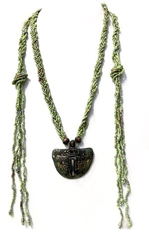 Necklace - Lariat With Polymer Clay Green #24, 2019