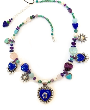 KY 1328-Single strand necklace w Lapis, fresh water pearls, sterling, 2019