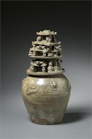 YUEYAO GLAZE FUNERARY JAR, Western Jin Dynasty, (265-316)