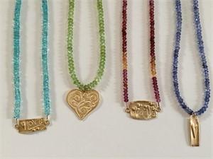 Vermeil pendants on various gem strands, 2019