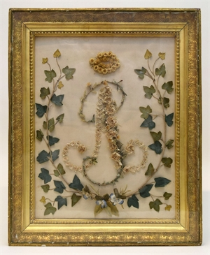 EMPIRE WHITEWORK STYLE SILK FLORAL MONOGRAM, French, 19th century